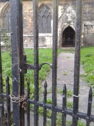 Locked gate to church