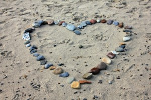 Beach with heart stones