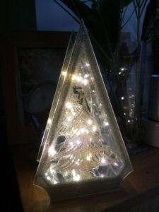 Christmas lights in a Christmas tree acrylic box